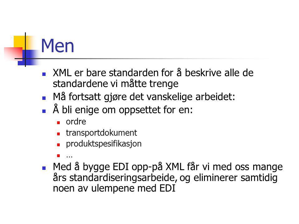 Men XML er bare standarden for å beskrive alle de standardene vi måtte trenge. Må fortsatt gjøre det vanskelige arbeidet: