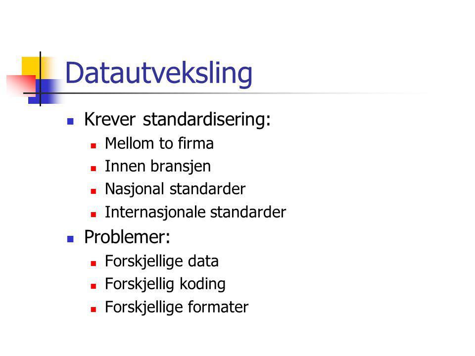 Datautveksling Krever standardisering: Problemer: Mellom to firma