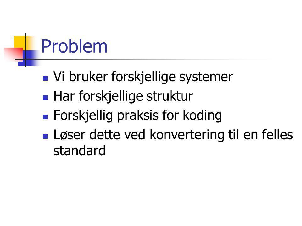 Problem Vi bruker forskjellige systemer Har forskjellige struktur