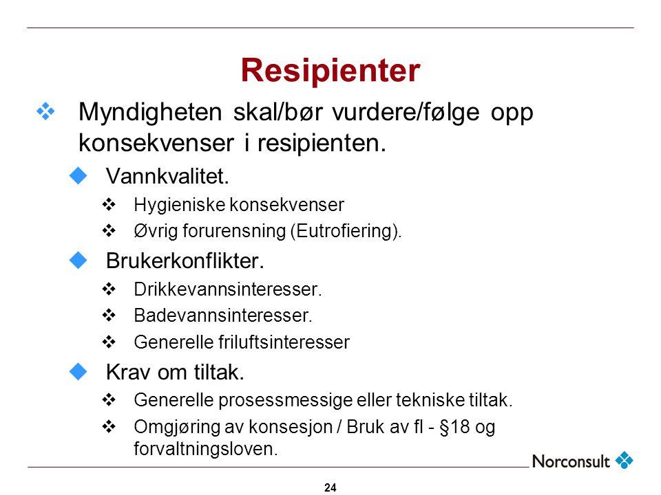 Resipienter Myndigheten skal/bør vurdere/følge opp konsekvenser i resipienten. Vannkvalitet. Hygieniske konsekvenser.
