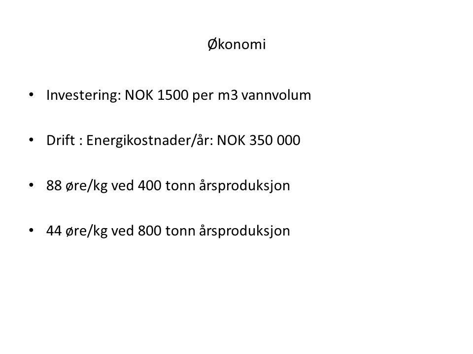 Økonomi Investering: NOK 1500 per m3 vannvolum. Drift : Energikostnader/år: NOK 350 000. 88 øre/kg ved 400 tonn årsproduksjon.