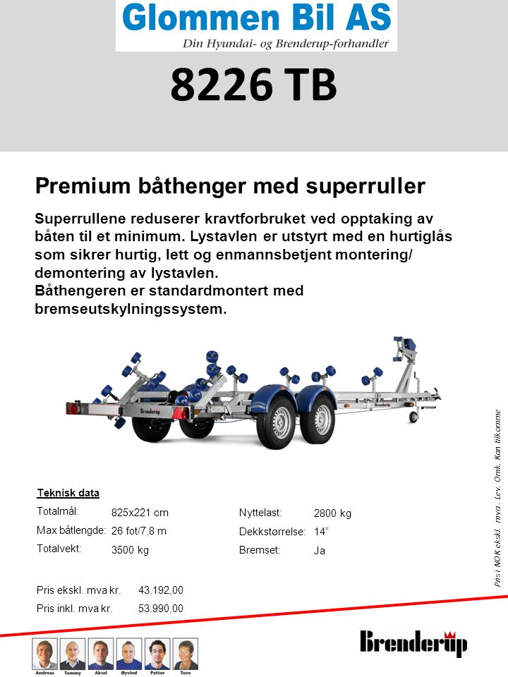 8226 TB Premium båthenger med superruller