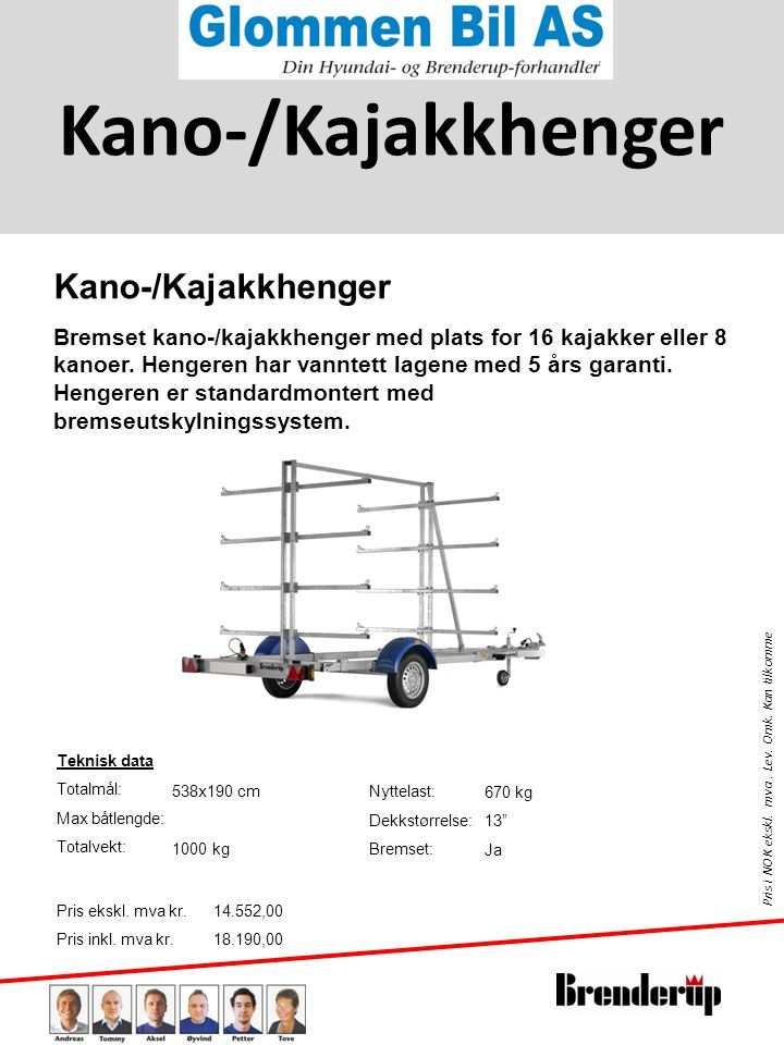 Kano-/Kajakkhenger Kano-/Kajakkhenger