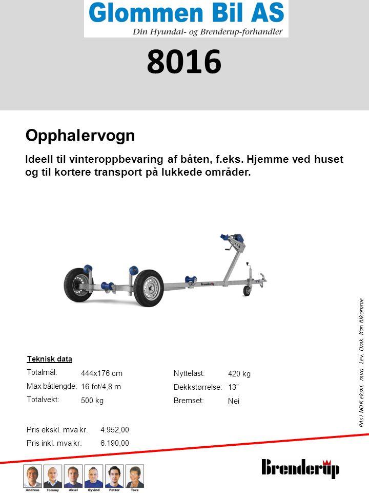 8016 Opphalervogn. Ideell til vinteroppbevaring af båten, f.eks. Hjemme ved huset og til kortere transport på lukkede områder.