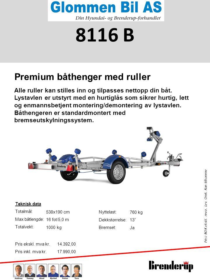 8116 B Premium båthenger med ruller