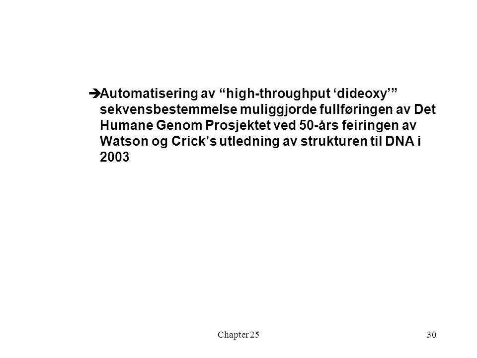 Automatisering av high-throughput 'dideoxy' sekvensbestemmelse muliggjorde fullføringen av Det Humane Genom Prosjektet ved 50-års feiringen av Watson og Crick's utledning av strukturen til DNA i 2003