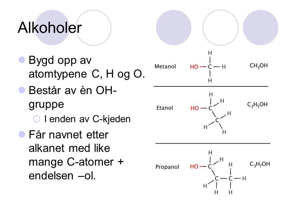 Alkoholer Bygd opp av atomtypene C, H og O. Består av èn OH-gruppe