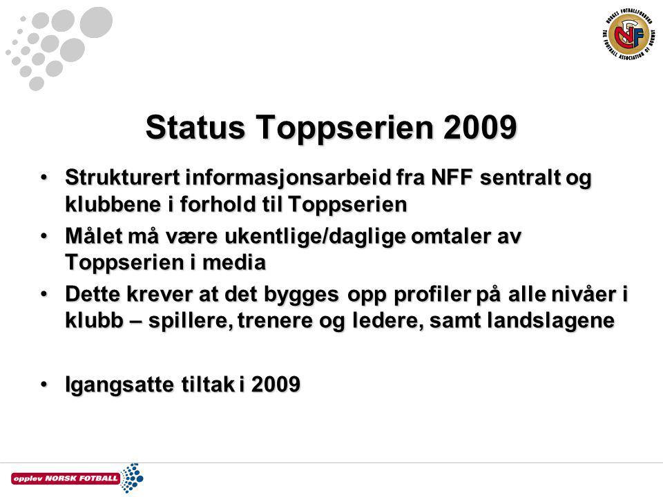 Status Toppserien 2009 Strukturert informasjonsarbeid fra NFF sentralt og klubbene i forhold til Toppserien.