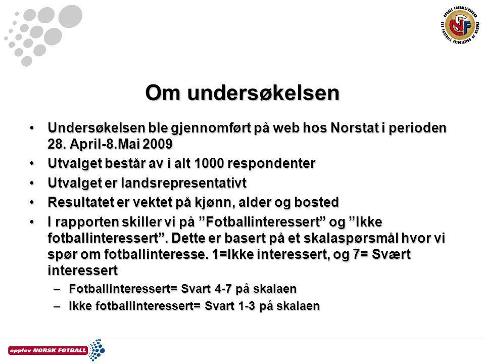 Om undersøkelsen Undersøkelsen ble gjennomført på web hos Norstat i perioden 28. April-8.Mai 2009. Utvalget består av i alt 1000 respondenter.