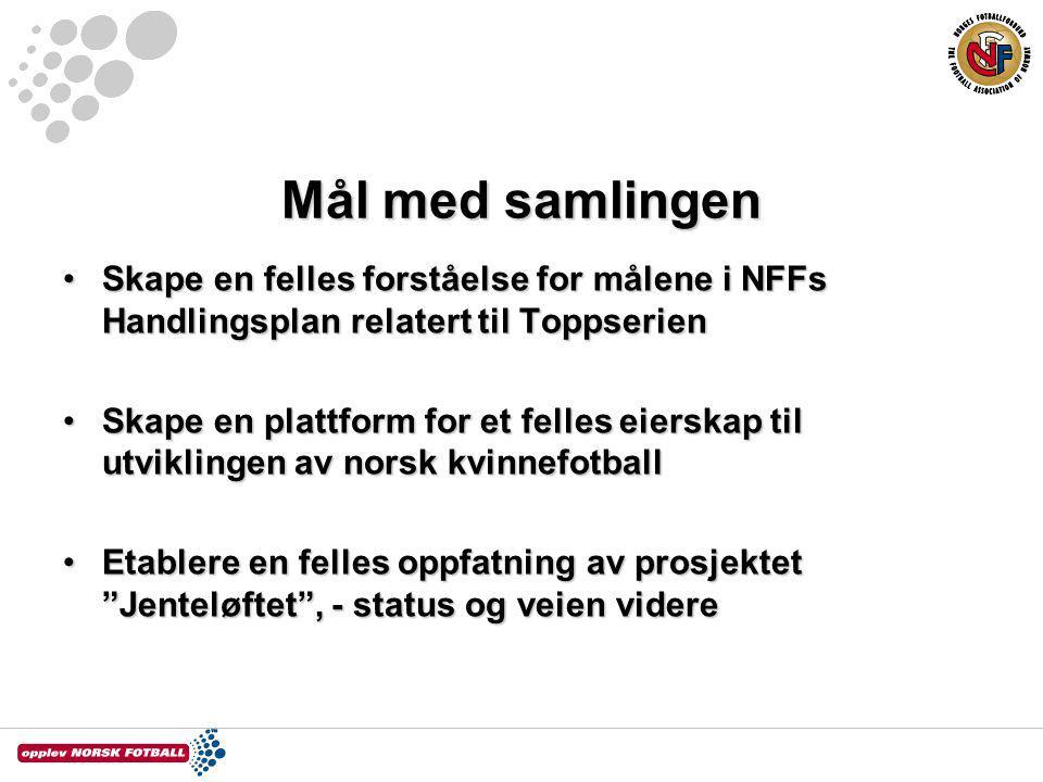 Mål med samlingen Skape en felles forståelse for målene i NFFs Handlingsplan relatert til Toppserien.