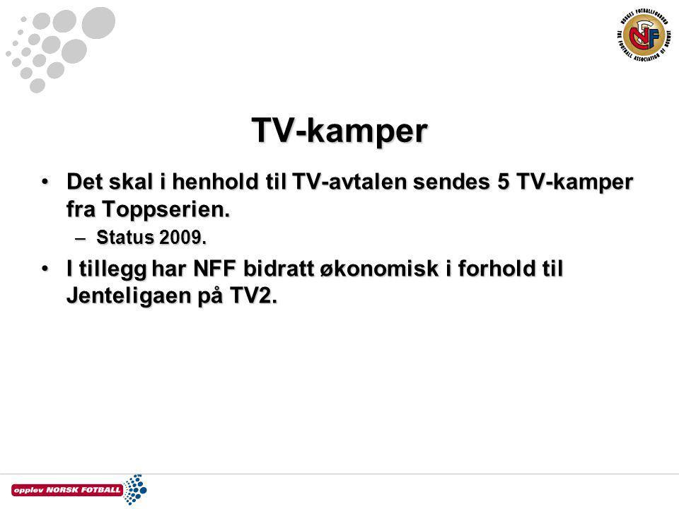 TV-kamper Det skal i henhold til TV-avtalen sendes 5 TV-kamper fra Toppserien. Status 2009.