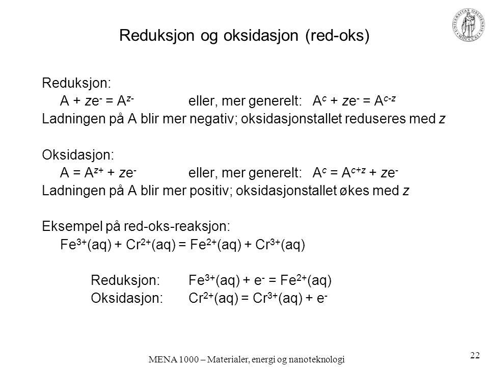 Reduksjon og oksidasjon (red-oks)