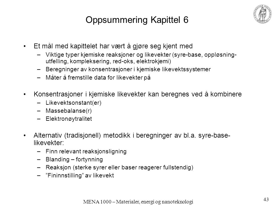 Oppsummering Kapittel 6