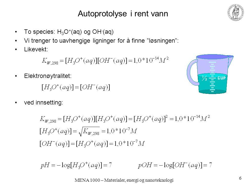 Autoprotolyse i rent vann