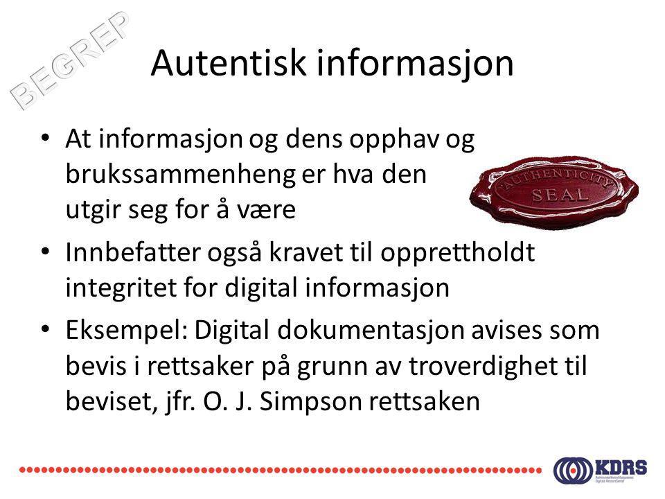 Autentisk informasjon