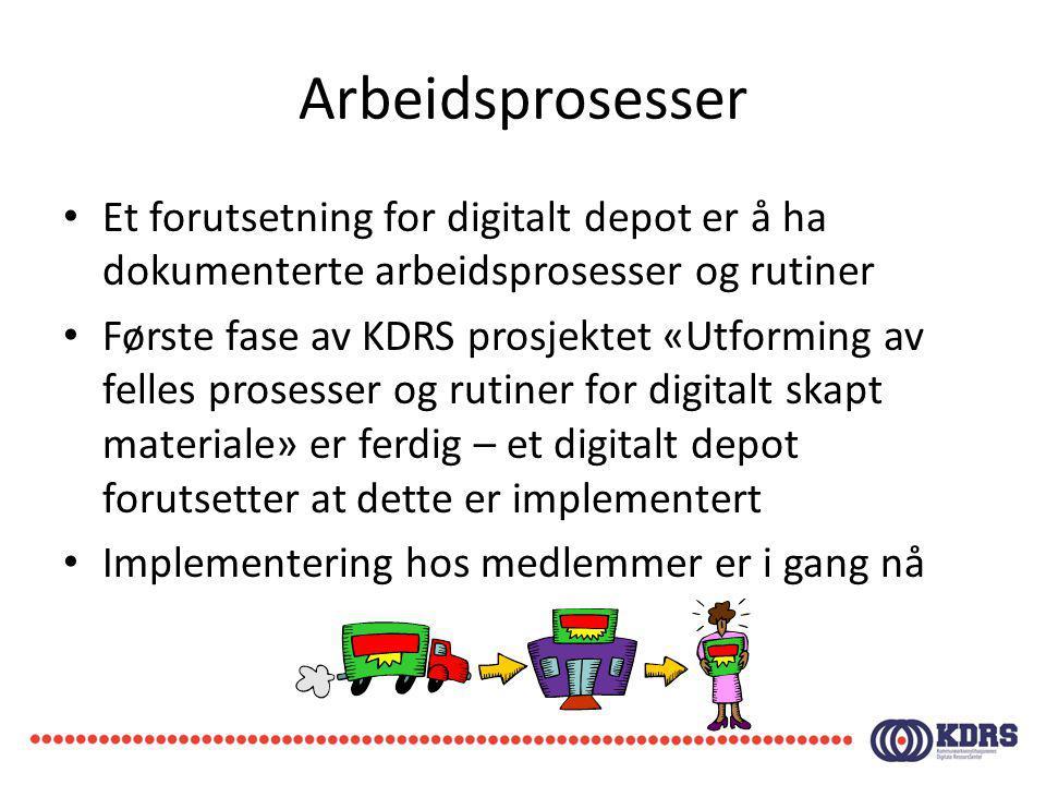 Arbeidsprosesser Et forutsetning for digitalt depot er å ha dokumenterte arbeidsprosesser og rutiner.