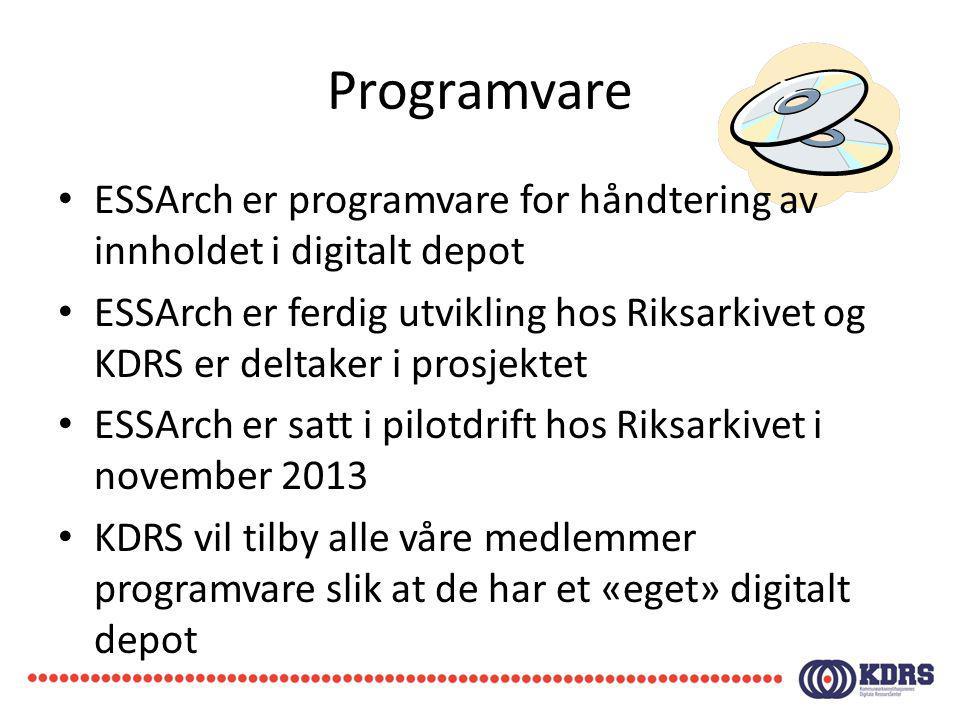 Programvare ESSArch er programvare for håndtering av innholdet i digitalt depot.