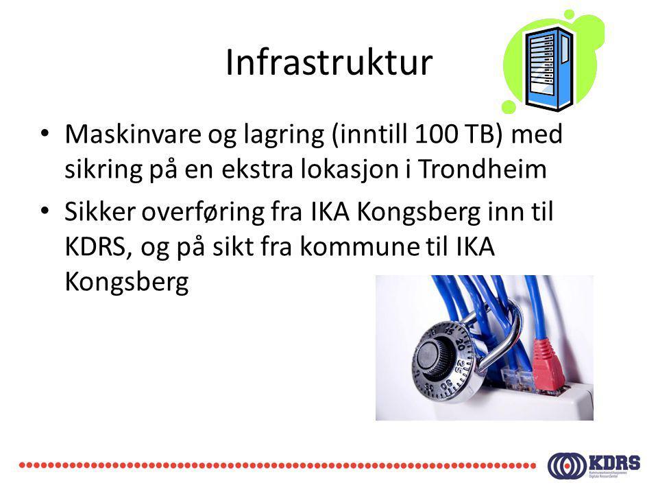 Infrastruktur Maskinvare og lagring (inntill 100 TB) med sikring på en ekstra lokasjon i Trondheim.