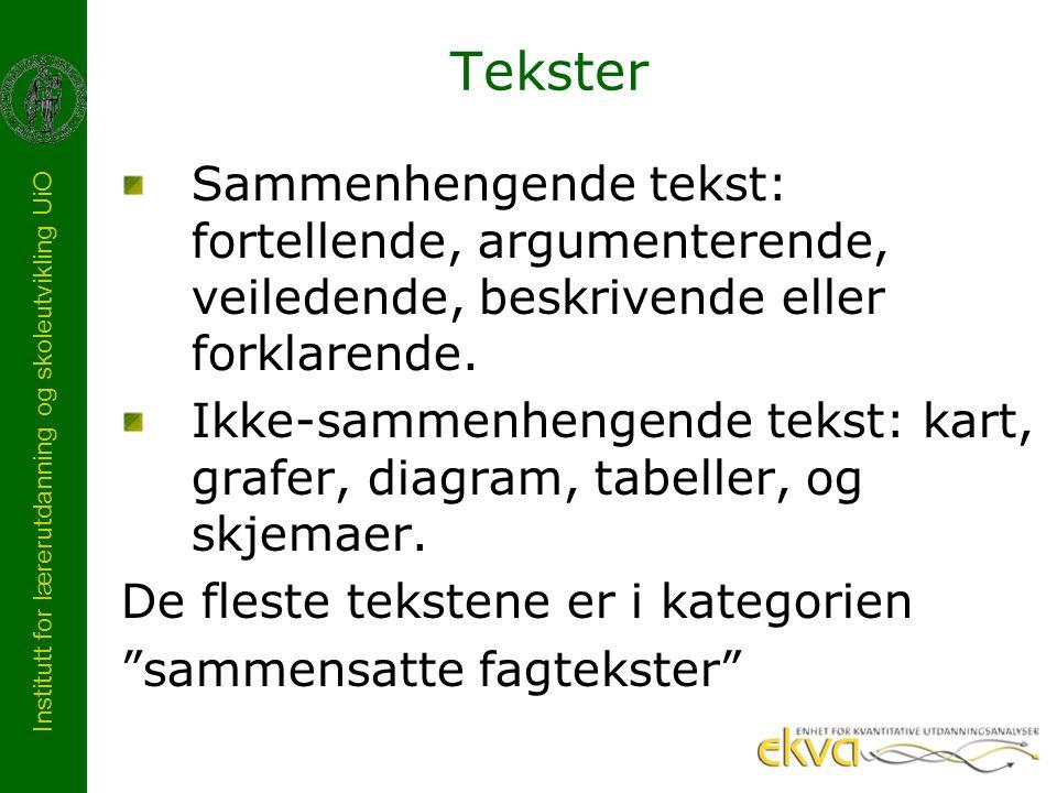 Tekster Sammenhengende tekst: fortellende, argumenterende, veiledende, beskrivende eller forklarende.