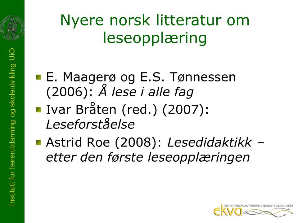 Nyere norsk litteratur om leseopplæring