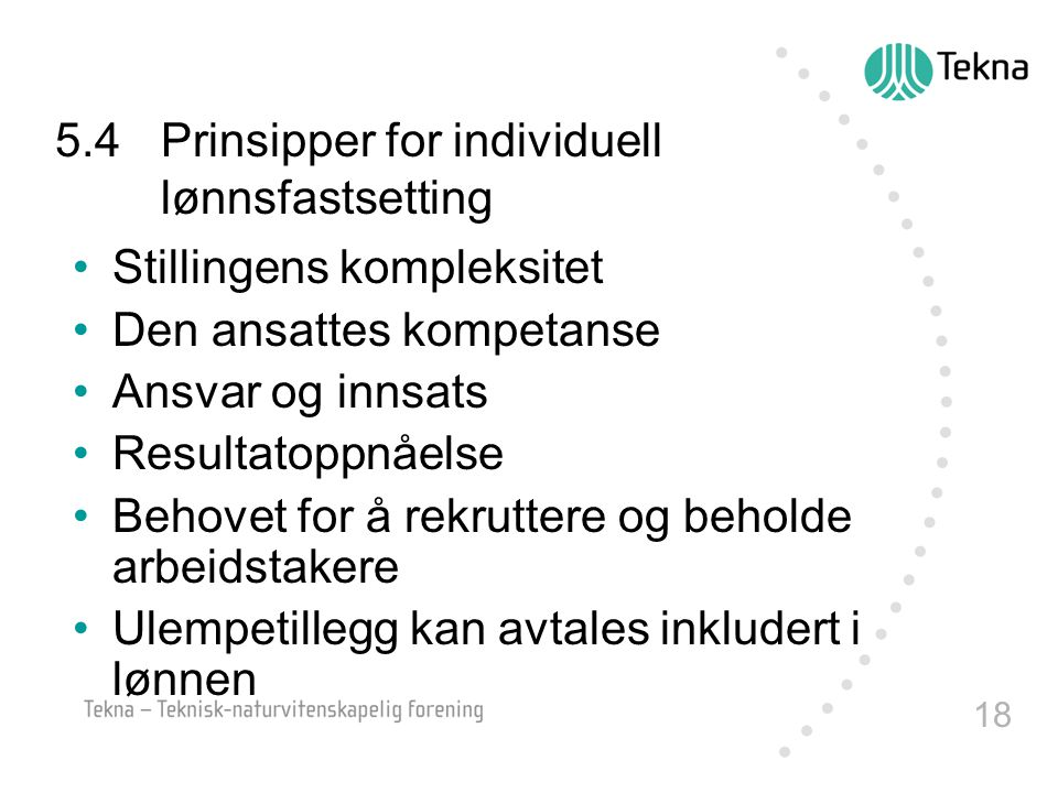5.4 Prinsipper for individuell lønnsfastsetting