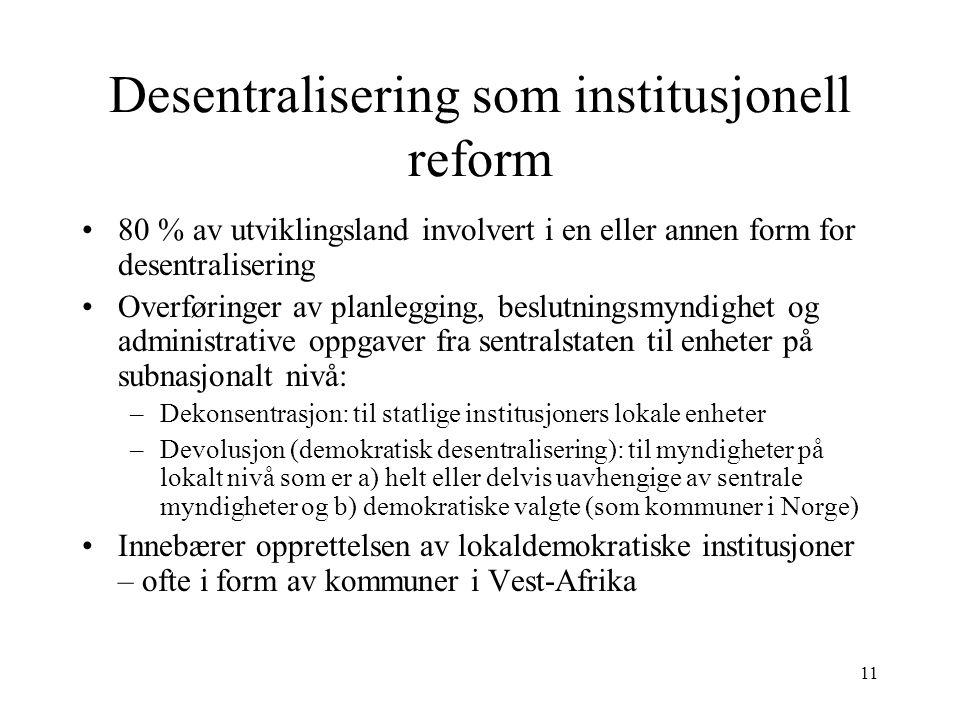 Desentralisering som institusjonell reform