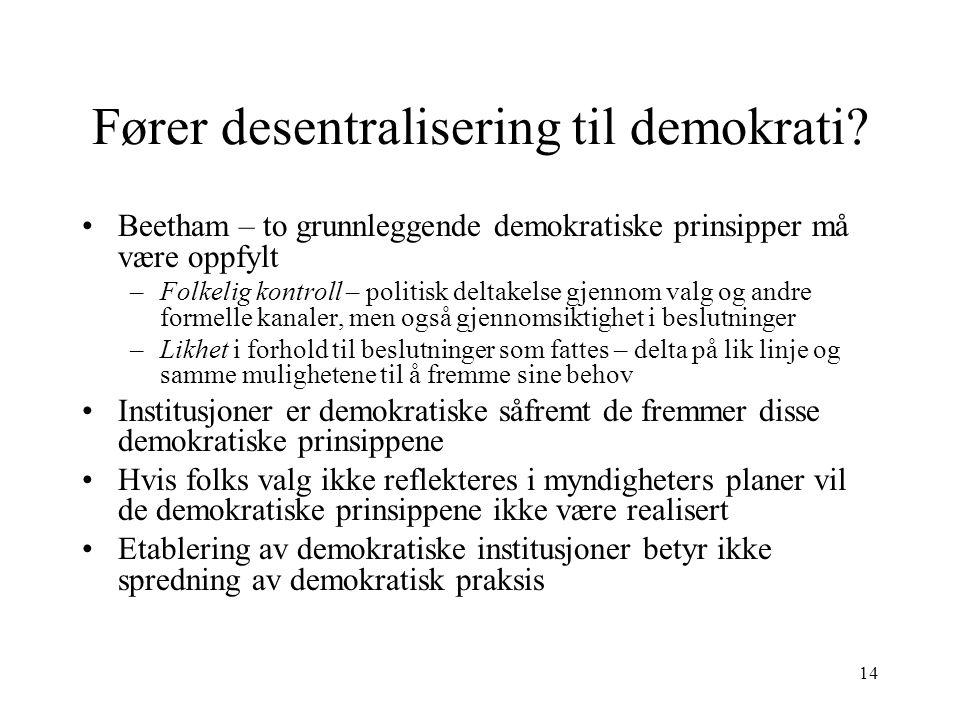 Fører desentralisering til demokrati
