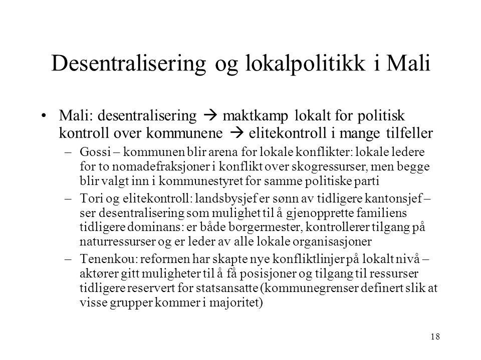 Desentralisering og lokalpolitikk i Mali
