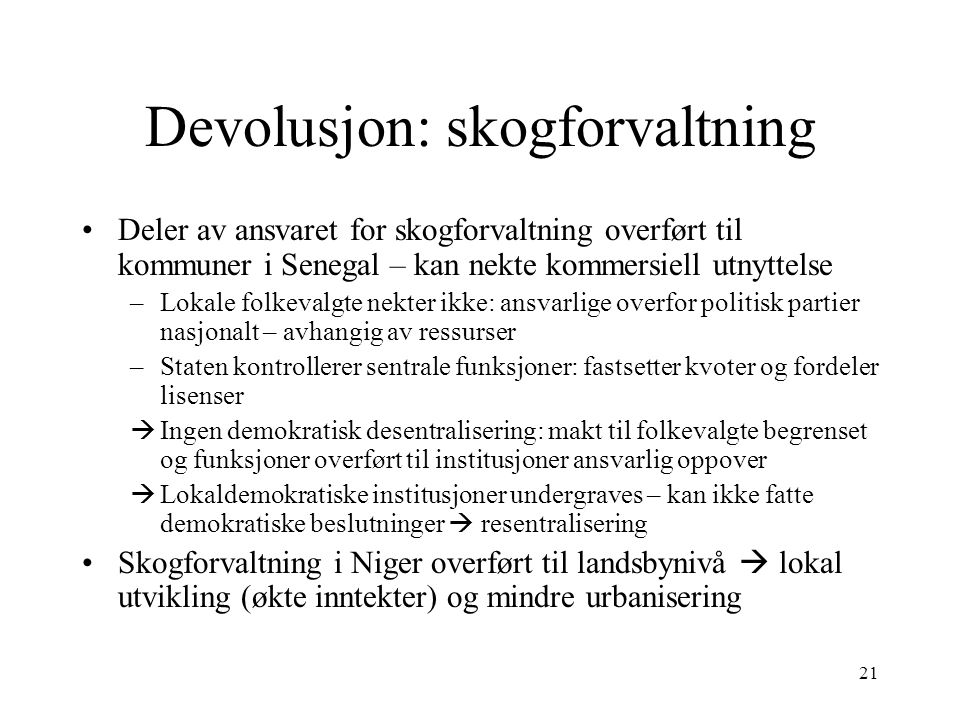 Devolusjon: skogforvaltning