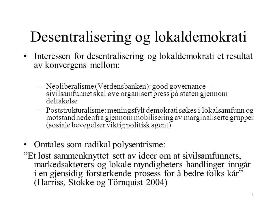 Desentralisering og lokaldemokrati