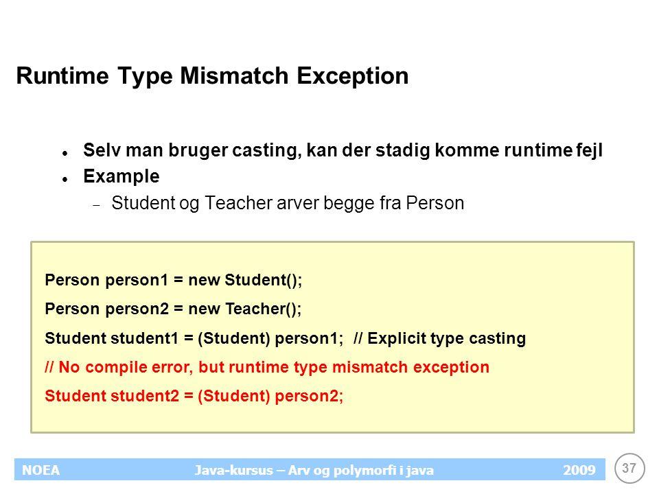Runtime Type Mismatch Exception