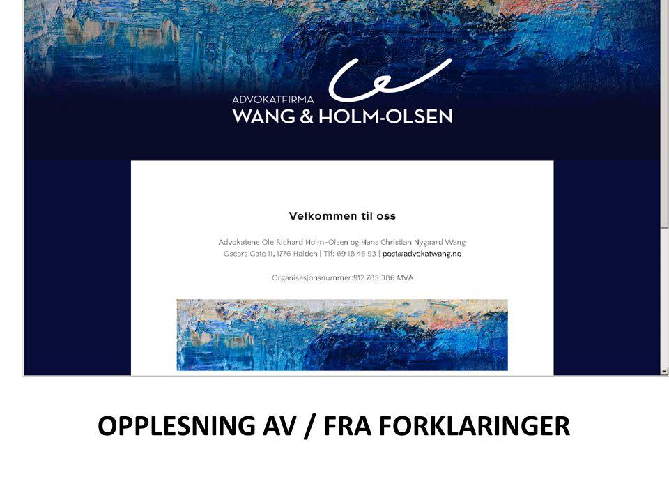 OPPLESNING AV / FRA FORKLARINGER