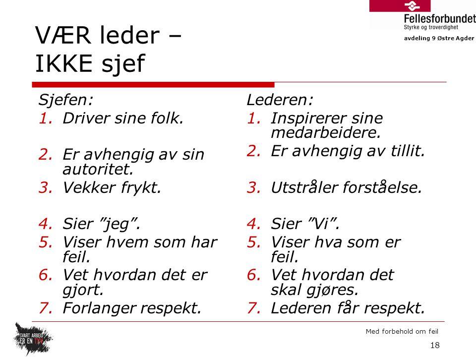 VÆR leder – IKKE sjef Sjefen: Driver sine folk.