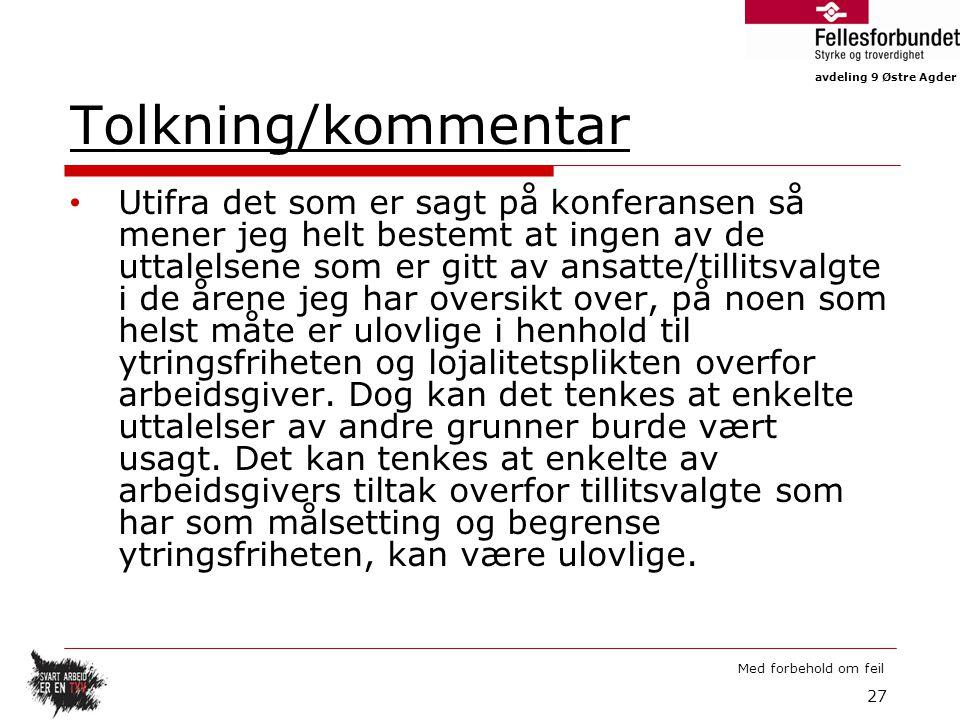 Tolkning/kommentar