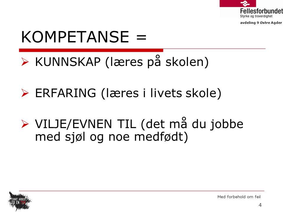 KOMPETANSE = KUNNSKAP (læres på skolen)