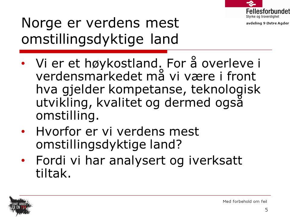 Norge er verdens mest omstillingsdyktige land