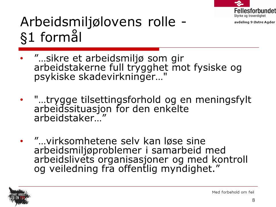 Arbeidsmiljølovens rolle - §1 formål