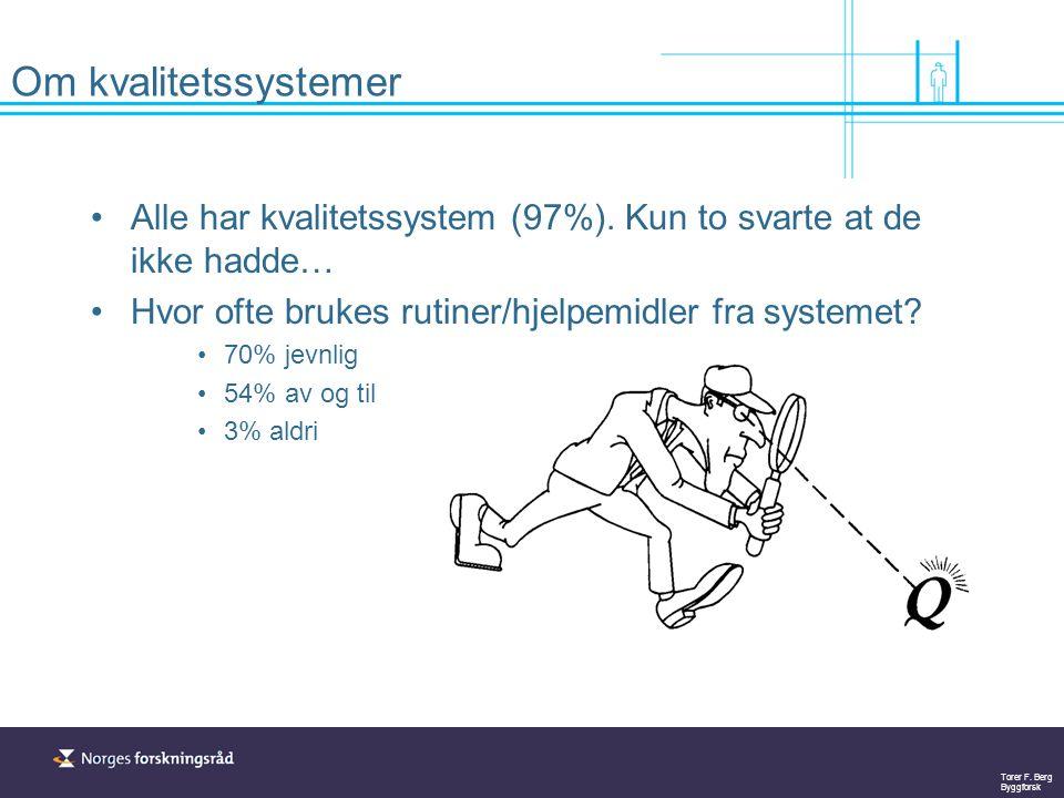 Om kvalitetssystemer Alle har kvalitetssystem (97%). Kun to svarte at de ikke hadde… Hvor ofte brukes rutiner/hjelpemidler fra systemet