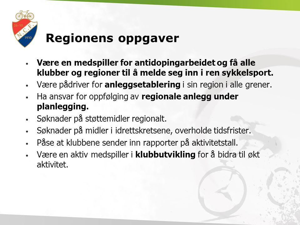 Regionens oppgaver Være en medspiller for antidopingarbeidet og få alle klubber og regioner til å melde seg inn i ren sykkelsport.