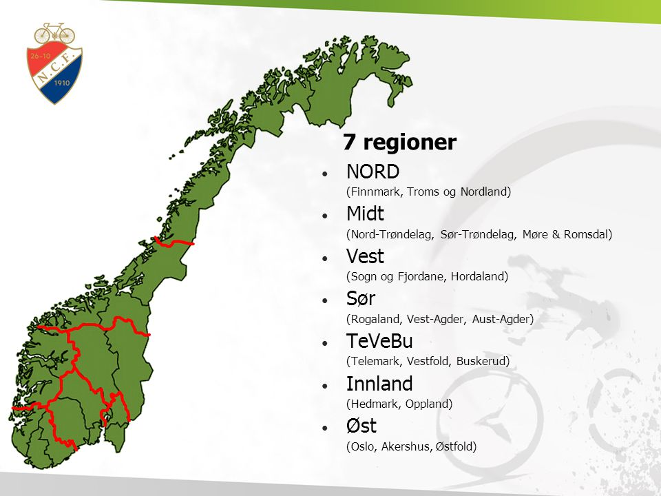 7 regioner NORD Midt Vest Sør TeVeBu Innland Øst