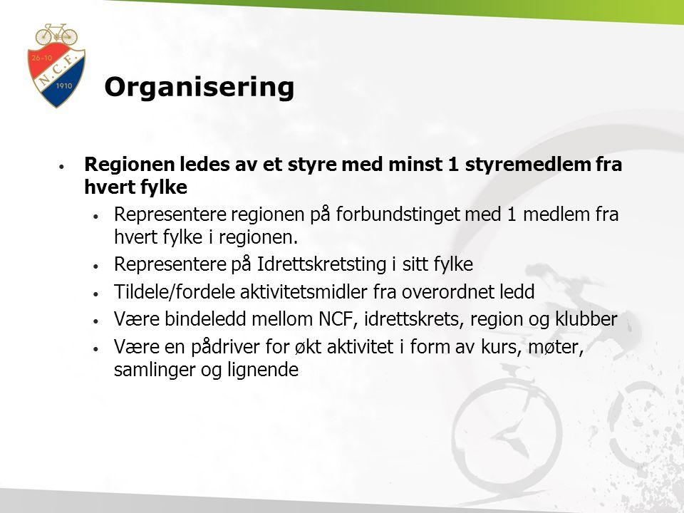 Organisering Regionen ledes av et styre med minst 1 styremedlem fra hvert fylke.