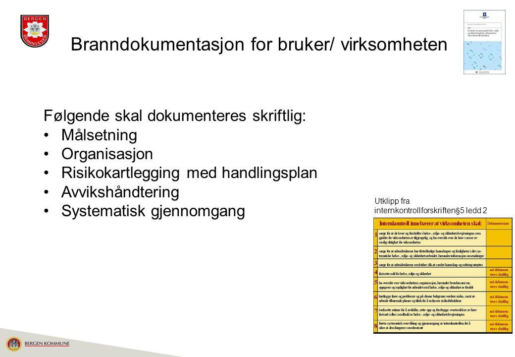 Branndokumentasjon for bruker/ virksomheten
