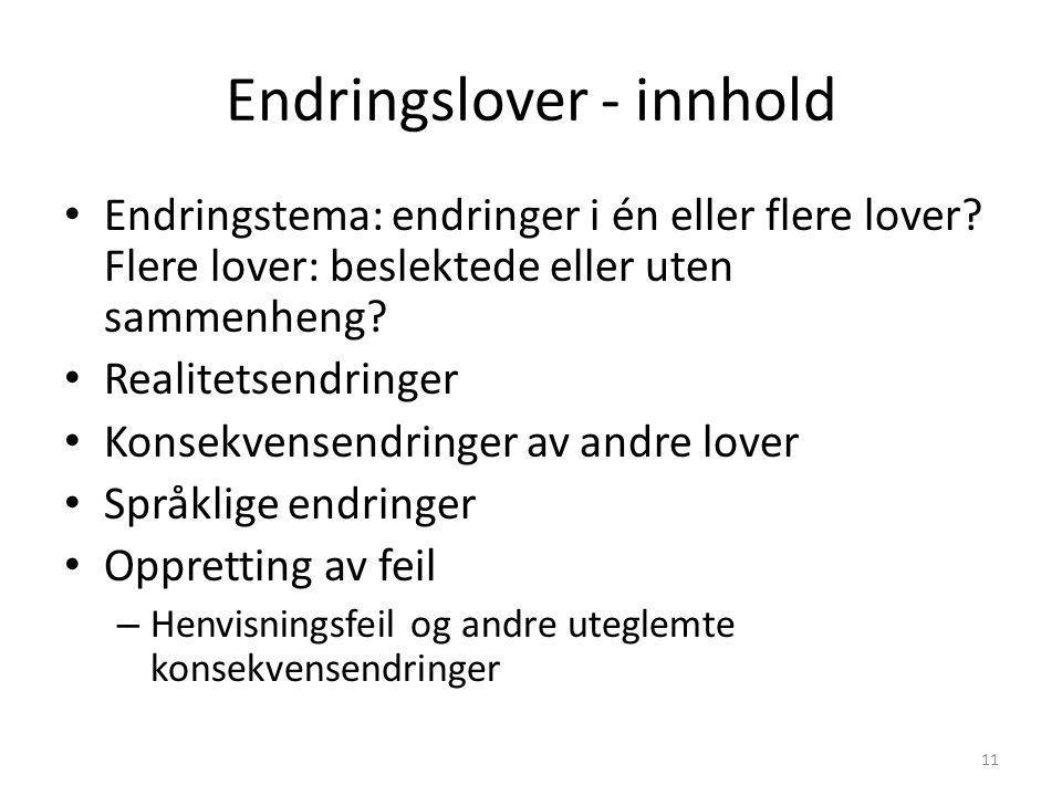 Endringslover - innhold