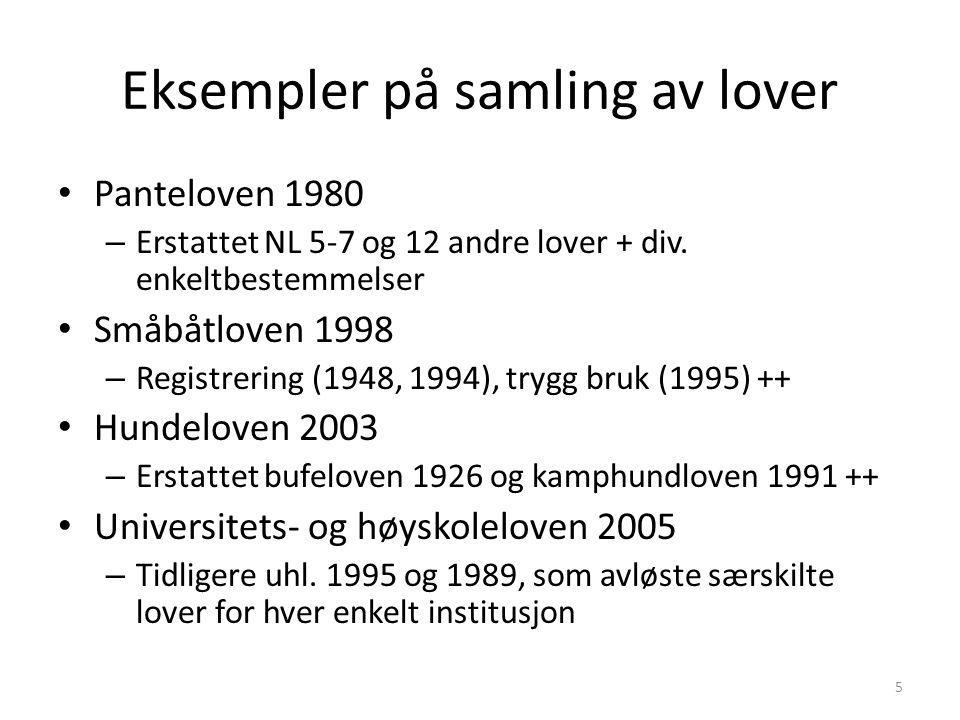 Eksempler på samling av lover
