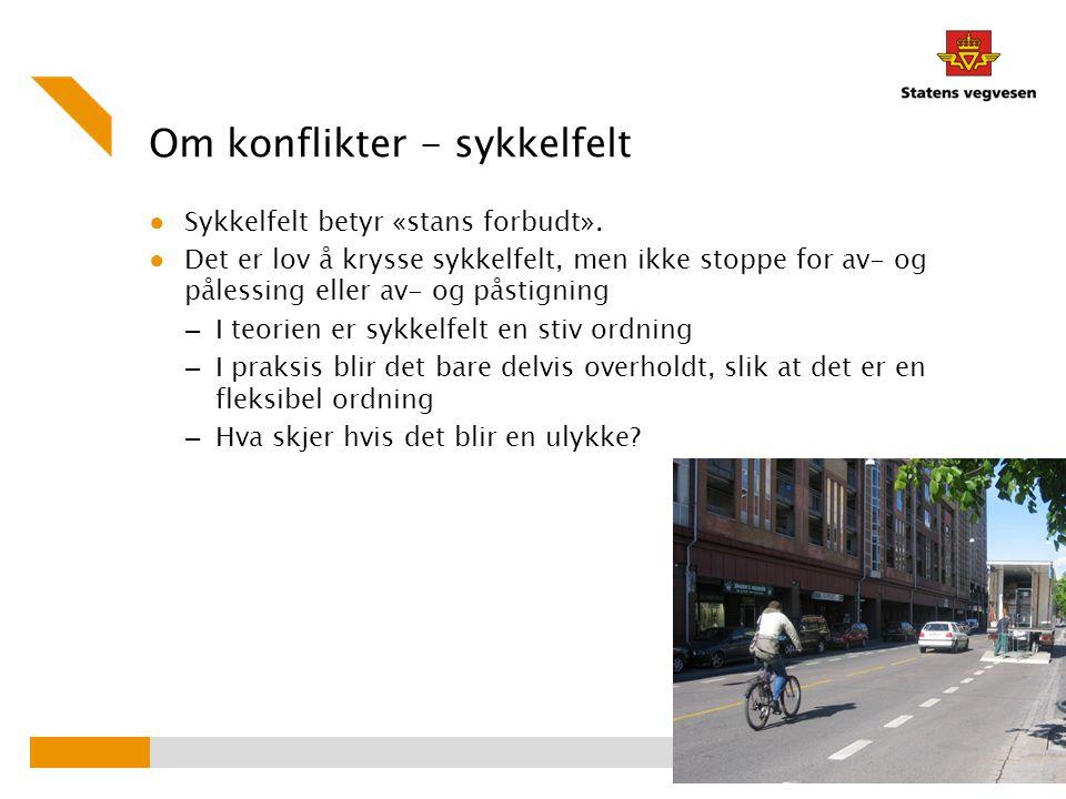 Om konflikter - sykkelfelt