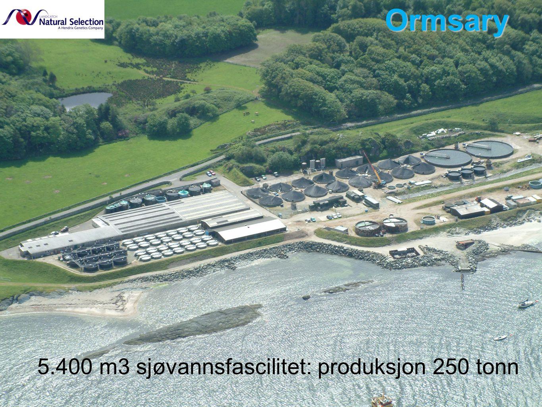 5.400 m3 sjøvannsfascilitet: produksjon 250 tonn