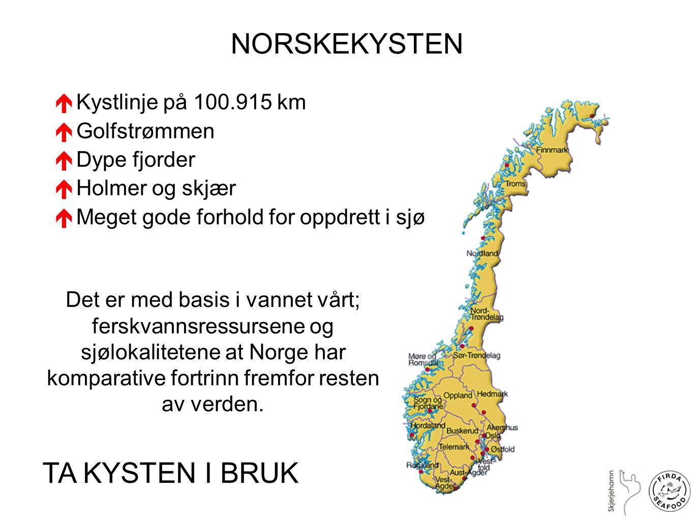 NORSKEKYSTEN TA KYSTEN I BRUK Kystlinje på 100.915 km Golfstrømmen
