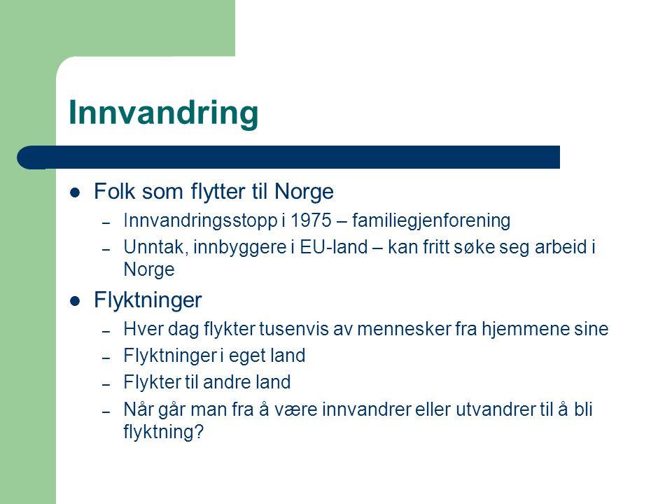 Innvandring Folk som flytter til Norge Flyktninger