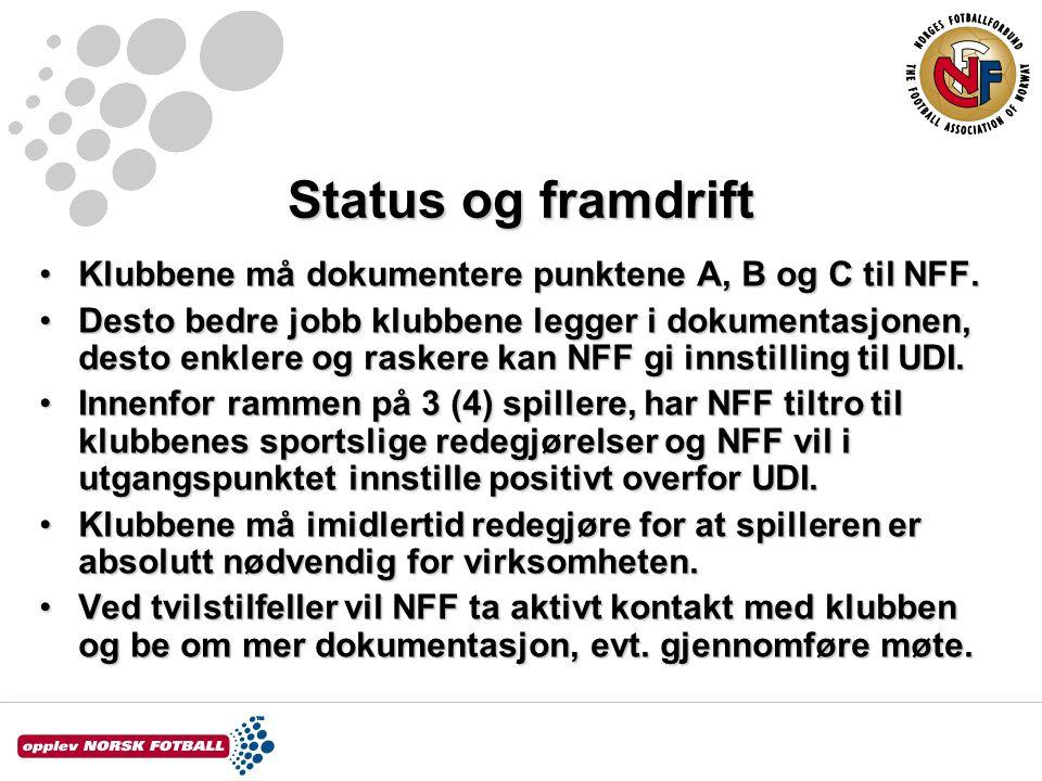 Status og framdrift Klubbene må dokumentere punktene A, B og C til NFF.