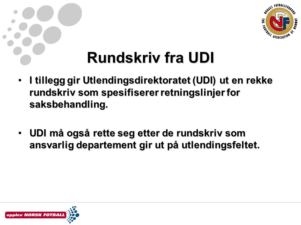 Rundskriv fra UDI I tillegg gir Utlendingsdirektoratet (UDI) ut en rekke rundskriv som spesifiserer retningslinjer for saksbehandling.